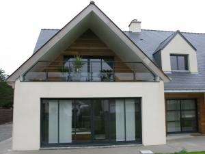 Détail de façade d'une maison construite sur la commune de Mesquer Loire Atlantique